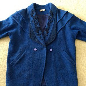 vintage blue wool? coat embroidered collar